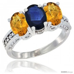 14K White Gold Natural Blue Sapphire Ring with Whisky Quartz 3-Stone 7x5 mm Oval Diamond Accent