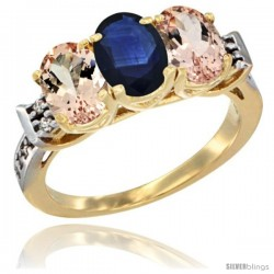 10K Yellow Gold Natural Blue Sapphire & Morganite Sides Ring 3-Stone Oval 7x5 mm Diamond Accent