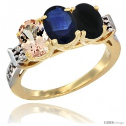 10K Yellow Gold Natural Morganite, Blue Sapphire & Black Onyx Ring 3-Stone Oval 7x5 mm Diamond Accent