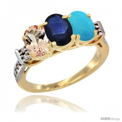 10K Yellow Gold Natural Morganite, Blue Sapphire & Turquoise Ring 3-Stone Oval 7x5 mm Diamond Accent