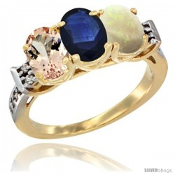 10K Yellow Gold Natural Morganite, Blue Sapphire & Opal Ring 3-Stone Oval 7x5 mm Diamond Accent
