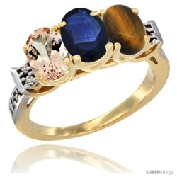 10K Yellow Gold Natural Morganite, Blue Sapphire & Tiger Eye Ring 3-Stone Oval 7x5 mm Diamond Accent