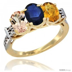 10K Yellow Gold Natural Morganite, Blue Sapphire & Whisky Quartz Ring 3-Stone Oval 7x5 mm Diamond Accent