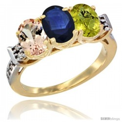 10K Yellow Gold Natural Morganite, Blue Sapphire & Lemon Quartz Ring 3-Stone Oval 7x5 mm Diamond Accent