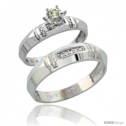 Sterling Silver 2-Piece Diamond Ring Set ( Engagement Ring & Man's Wedding Band ), w/ 0.08 Carat Brilliant Cut -Style Ag122em