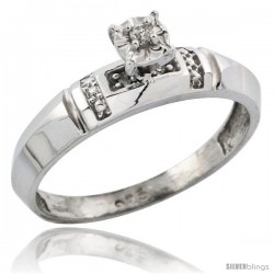 Sterling Silver Diamond Engagement Ring, w/ 0.05 Carat Brilliant Cut Diamonds, 5/32 in. (4mm) wide -Style Ag122er