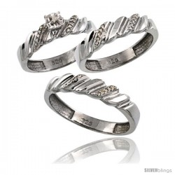 Sterling Silver 3-Pc. Trio His (5mm) & Hers (4.5mm) Diamond Wedding Ring Band Set, w/ 0.056 Carat Brilliant Cut Diamonds
