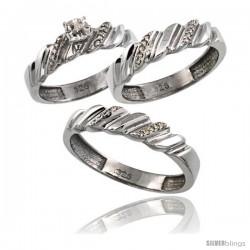 Sterling Silver 3-Pc. Trio His (5mm) & Hers (4.5mm) Diamond Wedding Ring Band Set, w/ 0.056 Carat Brilliant Cut Diamonds