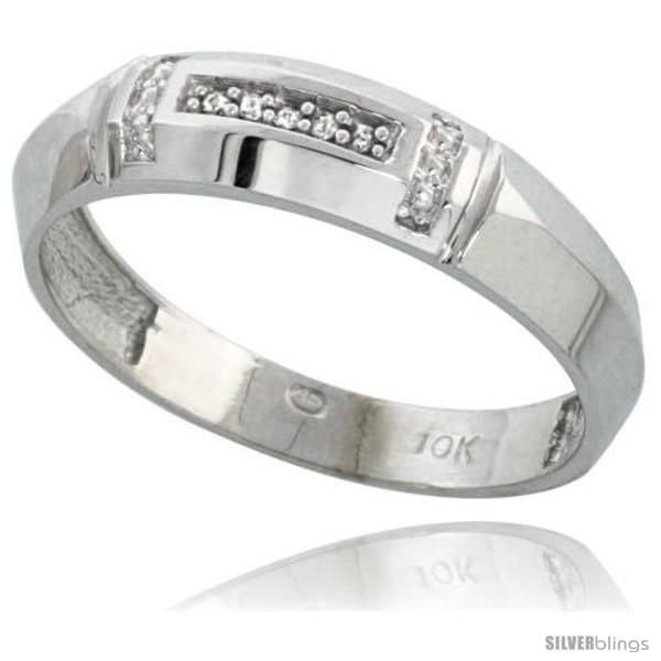 7//32 in. w// 0.03 Carat Brilliant Cut Diamonds wide 5.5mm Size 12 Sterling Silver Mens Diamond Band