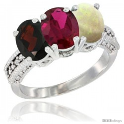 14K White Gold Natural Garnet, Ruby & Opal Ring 3-Stone 7x5 mm Oval Diamond Accent
