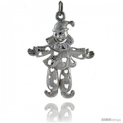 Sterling Silver High Polished Small Movable Clown Pendant -Style P3133