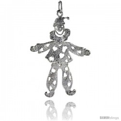 Sterling Silver High Polished Movable Clown Pendant -Style P3134