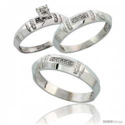 Sterling Silver 3-Piece Trio His (5.5mm) & Hers (4mm) Diamond Wedding Band Set, w/ 0.10 Carat Brilliant Cut Diamonds