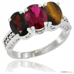14K White Gold Natural Garnet, Ruby & Tiger Eye Ring 3-Stone 7x5 mm Oval Diamond Accent