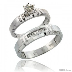 Sterling Silver 2-Piece Diamond Ring Set ( Engagement Ring & Man's Wedding Band ), w/ 0.08 Carat Brilliant Cut -Style Ag123em