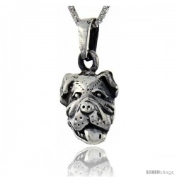 Sterling Silver Bulldog Head Pendant, 1 in tall