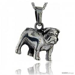 Sterling Silver Bulldog Pendant, 3/4 in tall