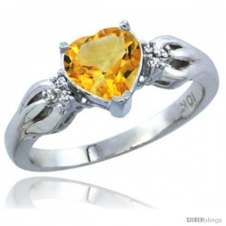 10K White Gold Natural Citrine Ring Heart-shape 7x7 Stone Diamond Accent