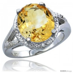 10K White Gold Natural Citrine Ring Oval 12x10 Stone Diamond Accent