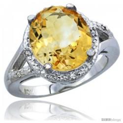 10K White Gold Natural Citrine Ring Oval 12x10 Stone Diamond Accent