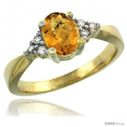 14k Yellow Gold Ladies Natural Whisky Quartz Ring oval 7x5 Stone Diamond Accent -Style Cy426168