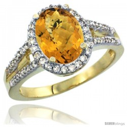 14k Yellow Gold Ladies Natural Whisky Quartz Ring oval 10x8 Stone Diamond Accent