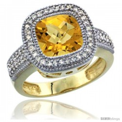 14K Yellow Gold Natural Whisky Quartz Ring Diamond Accent, Cushion-cut 9x9 Stone Diamond Accent