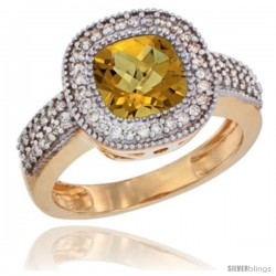 14k Yellow Gold Ladies Natural Whisky Quartz Ring Cushion-cut 3.5 ct. 7x7 Stone Diamond Accent