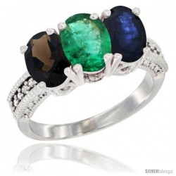 14K White Gold Natural Smoky Topaz, Emerald & Blue Sapphire Ring 3-Stone 7x5 mm Oval Diamond Accent