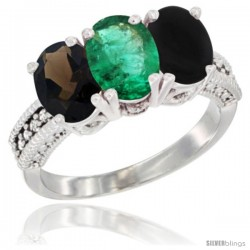 14K White Gold Natural Smoky Topaz, Emerald & Black Onyx Ring 3-Stone 7x5 mm Oval Diamond Accent