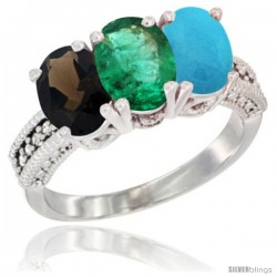 14K White Gold Natural Smoky Topaz, Emerald & Turquoise Ring 3-Stone 7x5 mm Oval Diamond Accent