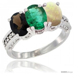 14K White Gold Natural Smoky Topaz, Emerald & Opal Ring 3-Stone 7x5 mm Oval Diamond Accent