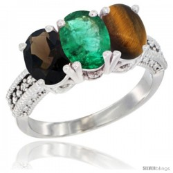14K White Gold Natural Smoky Topaz, Emerald & Tiger Eye Ring 3-Stone 7x5 mm Oval Diamond Accent
