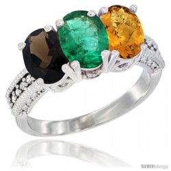 14K White Gold Natural Smoky Topaz, Emerald & Whisky Quartz Ring 3-Stone 7x5 mm Oval Diamond Accent