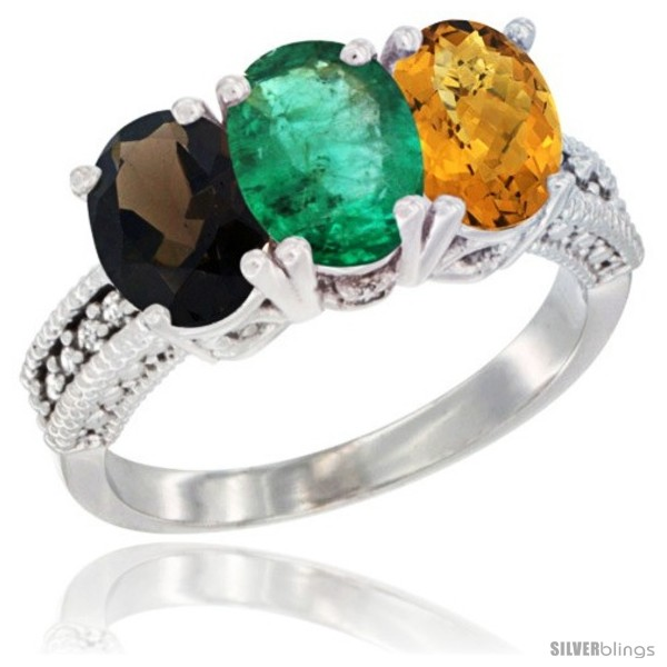https://www.silverblings.com/63535-thickbox_default/14k-white-gold-natural-smoky-topaz-emerald-whisky-quartz-ring-3-stone-7x5-mm-oval-diamond-accent.jpg