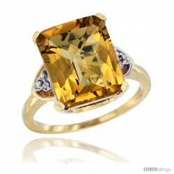 14k Yellow Gold Ladies Natural Whisky Quartz Ring Emerald-shape 12x10 Stone Diamond Accent
