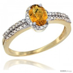 14k Yellow Gold Ladies Natural Whisky Quartz Ring oval 6x4 Stone Diamond Accent -Style Cy426178
