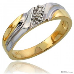 14k Gold Ladies' Diamond Band w/ Rhodium Accent, w/ 0.06 Carat Brilliant Cut Diamonds, 3/16 in. (5mm) wide