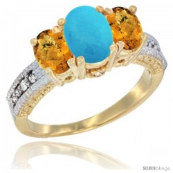 14k Yellow Gold Ladies Oval Natural Turquoise 3-Stone Ring with Whisky Quartz Sides Diamond Accent