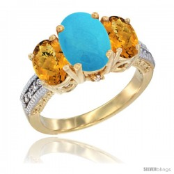 14K Yellow Gold Ladies 3-Stone Oval Natural Turquoise Ring with Whisky Quartz Sides Diamond Accent