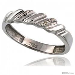 Sterling Silver Men's Diamond Wedding Ring Band, w/ 0.063 Carat Brilliant Cut Diamonds, 3/16 in. (5mm) wide