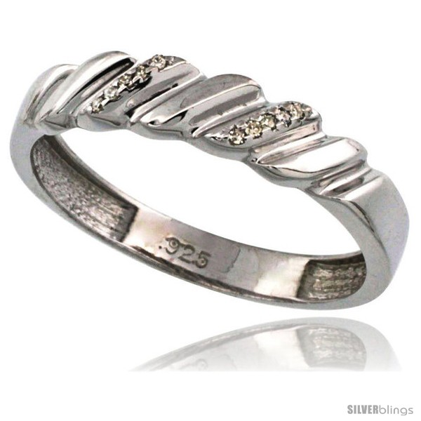 Sterling Silver Mens Diamond Band 3//16 in. wide w// 0.03 Carat Brilliant Cut Diamonds 5mm