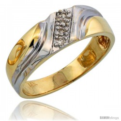 14k Gold Men's Diamond Band w/ Rhodium Accent, w/ 0.08 Carat Brilliant Cut Diamonds, 1/4 in. (7mm) wide