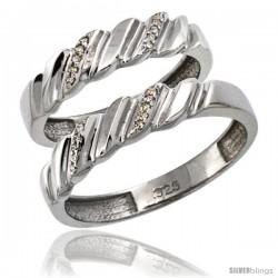 Sterling Silver 2-Pc His (5mm) & Hers (5mm) Diamond Wedding Ring Band Set w/ 0.126 Carat Brilliant Cut Diamonds
