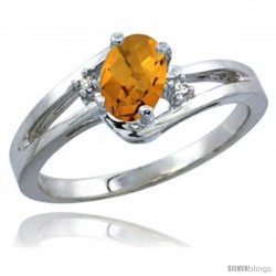 14k White Gold Ladies Natural Whisky Quartz Ring oval 6x4 Stone Diamond Accent -Style Cw426165