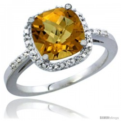 14k White Gold Ladies Natural Whisky Quartz Ring Cushion-cut 3.8 ct. 8x8 Stone Diamond Accent