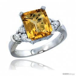 14k White Gold Ladies Natural Whisky Quartz Ring Emerald-shape 9x7 Stone Diamond Accent