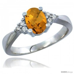 14k White Gold Ladies Natural Whisky Quartz Ring oval 7x5 Stone Diamond Accent -Style Cw426168