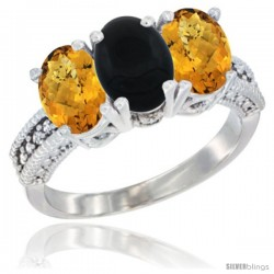 14K White Gold Natural Black Onyx Ring with Whisky Quartz 3-Stone 7x5 mm Oval Diamond Accent