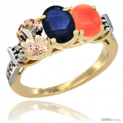 10K Yellow Gold Natural Morganite, Blue Sapphire & Coral Ring 3-Stone Oval 7x5 mm Diamond Accent
